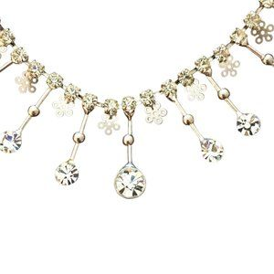 Handcrafted Diamond & Silver Necklace & Earrings